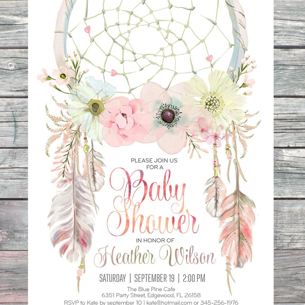 Dreamcatcher Boho Baby Shower Invitation Digital Printable