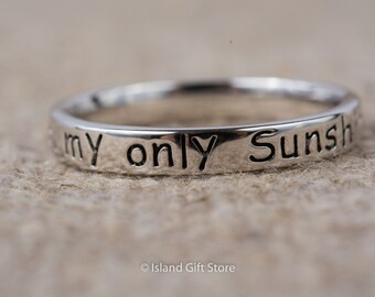 925 Sterling Silver You Are My Sunshine, My Only Sunshine Ring