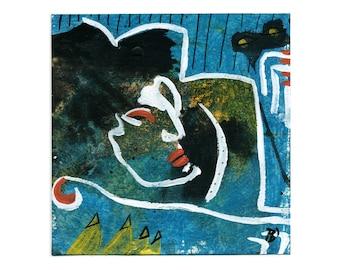 "Original 15/15 cm ""Nachtwandler"" image / drawing & acrylic painting in combination"