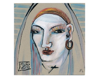 Pirate nun 20/20 cm picture portrait, abstract