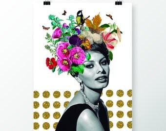 Glamour print Sophia Loren, Poster 50x70 cm, Instant download, Black and white, Vintage movie star, Gold glitter, elegant woman, flowers