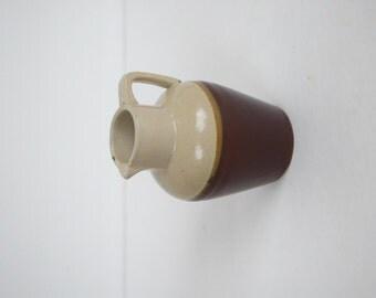 Vintage small stoneware pitcher / retro mini ceramic maple syrup pitcher / rustic creamer