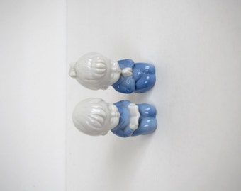 """Vintage 1960's """"Lego"""" set of two small porcelain figurines / boy and girl kneeling figurine/ holiday decor"""