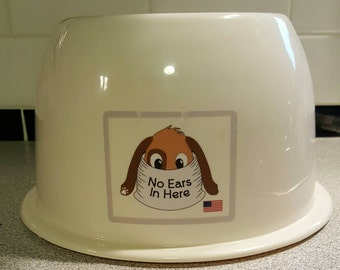 New No Ears In Here Long Eared Dog Bowl - NEW COLOR -CREAM