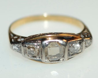 Art Deco ring with five diamonds old rose cut carved, 18 carat gold size 18/56