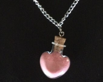 Necklace with heart and candy powder pink