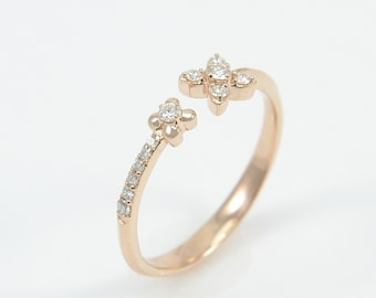 High End 14K Rose Solid Gold Ring Pave Setting With 12 Round Natural Diamonds, Ladies Ring