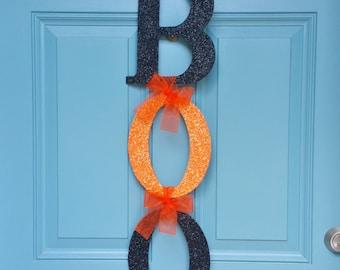 BOO Halloween Door Hanger, Glitter BOO Door Hanger, Halloween Decor, Halloween Door Decoration, Fall Decor, Fall Wreath, Halloween Wreath