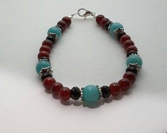 Turquoise and Red Beaded Bracelet
