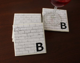 Brick Wall Coasters, Ceramic Tile Coasters, Masculine Coasters, Hostess Gift, Housewarming Gift