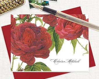 personalized stationery set - DARK RED ROSES - set of 8 folded note cards - stationary - floral - botanical - flower - red envelopes