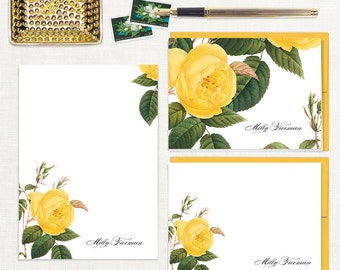 complete personalized stationery set - YELLOW ROSE - note cards - notepad - stationary - botanical - floral - flower - roses