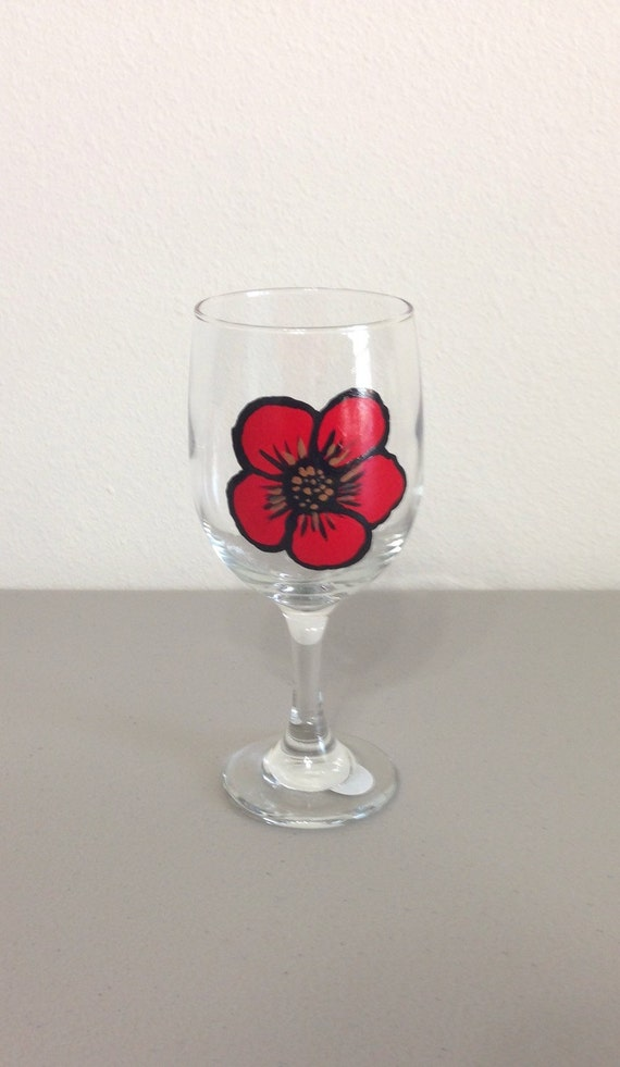 Painted Wine Glass Red Poppy Glassware Kitchen Decor