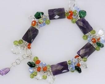 Zambian Amethyst, quartz, blue Kynaite, Periodt, Carnelian cluster sterling silver bracelet, gemstone bracelet