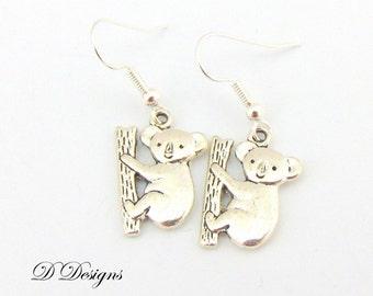 Koala Earrings, Bear Earrings, Sterling Silver Earrings, Novelty Earrings, Animal Earrings, Gifts for her, Earwire earrings