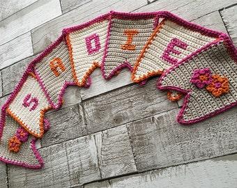 Personalised bunting pink orange flower