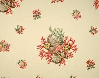 SCALAMANDRE TROPICAL Islands Neptune's Treasure Indoor Outdoor Fabric 10 Yards Jade Shrimp Cream Multi
