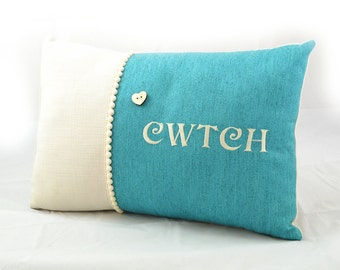 Welsh Cwtch Cushion - Turquoise