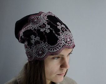 Slouchy hat with lace and silk or eco cotton lining. Winter hat. Feminin hat.