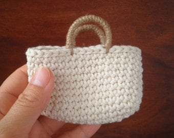 FREE SHIPPING, Small Tote Bag, Crochet Bag, Mini Tote, Natural Colors, Miniature Home Decor, Country Home Decor, Gift for Women, Doll Bag