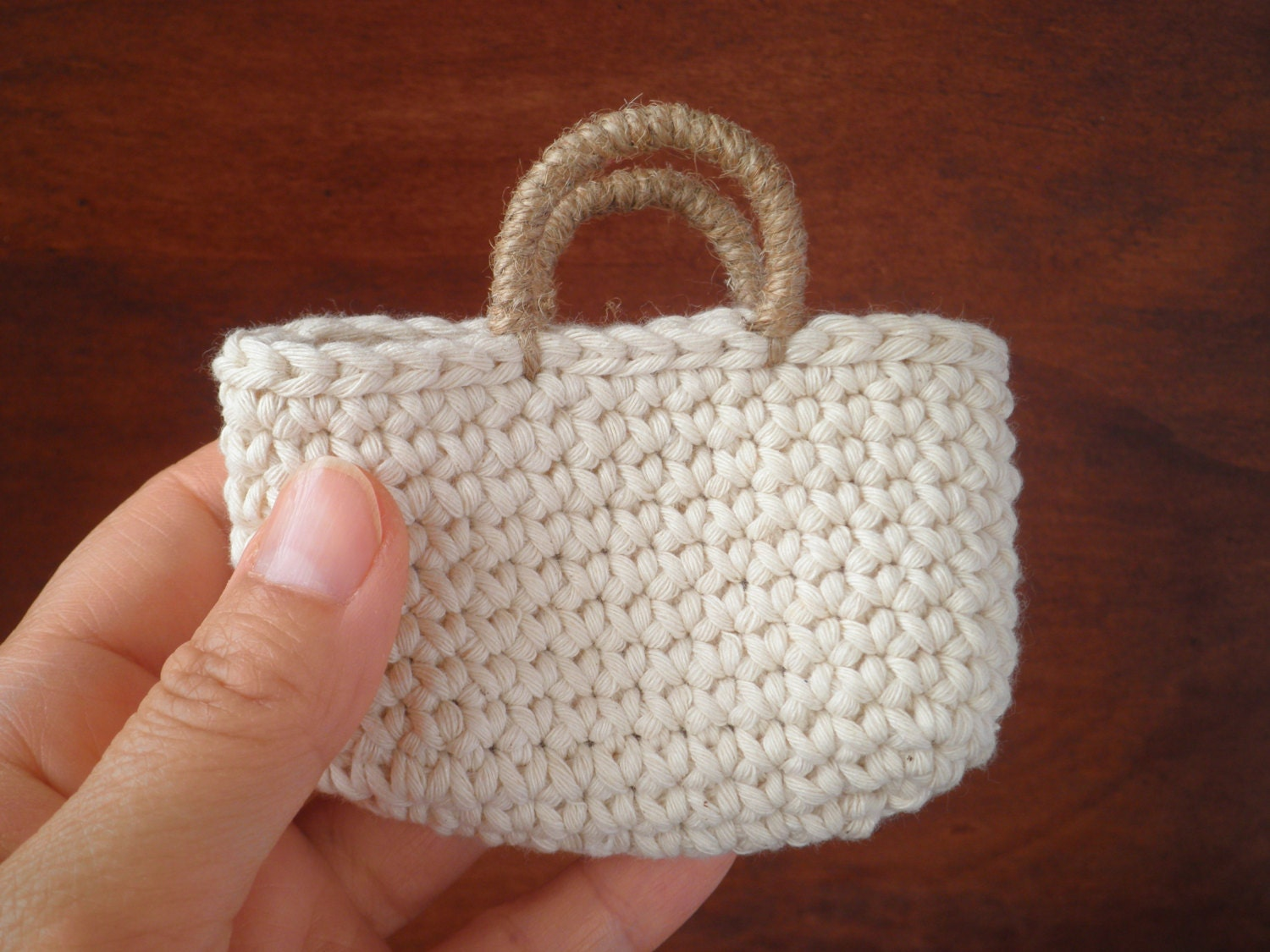 Free Crochet Pattern For Small Tote Bag : FREE SHIPPING Small Tote Bag Crochet Bag Mini Tote Natural