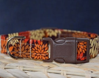 Fall Dog Collar – Mum Dog Collar – Fall Print Dog Collar – Halloween Dog Collar - Handmade Fabric Dog Collar