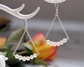 Freshwater Pearl Earrings, Solid 925 Sterling Silver, Dangle & Drop Earrings, White Pearl Earrings, Boho Pearl Earrings, Bridal Pearls