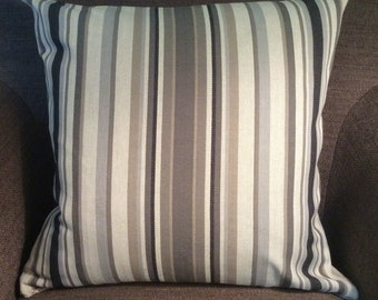 """Tan Grey Taupe Ivory Stripe Pattern Cotton Poly Decorative Pillow Cover Throw Pillow 20"""""""