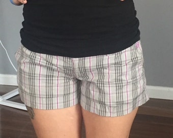 Gray and Purple Plaid Shorts