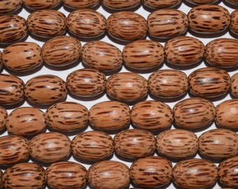 Natural Coconut wood oval beads, Palm wood beads sold on string, 15mm x 10mm