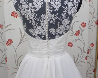 Vintage Inspired Wedding Dress with Lace Corset, Illusion Lace Neckline, Close Lace Back, Sweetheart, Belt with Bowtie, Chiffon Skirt