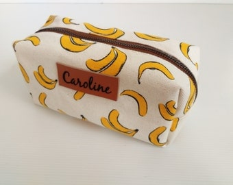 Monogram Bananas pencil bag,pencil case,zipper pouch,Back to School,Makeup Bags,Cosmetic Bags,gift for women,teen gift