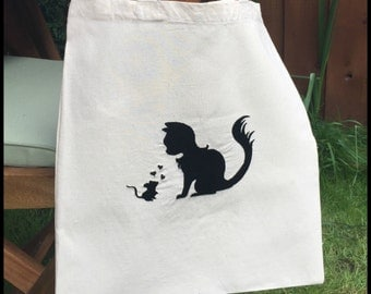 Embroidered Cotton Tote Bag - Cat n Mouse
