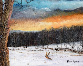 Sunset Painting - Pheasant Print - Winter Landscape - Blue Orange Sky - Winter Trees - Flying Bird - Matted Print