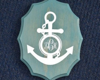 Anchor Monogram 9x12 Personalized Kids Room Sign, Baby's Room. Nautical Theme Decor - Nursery. Hand Painted - Custom Made Options Available!