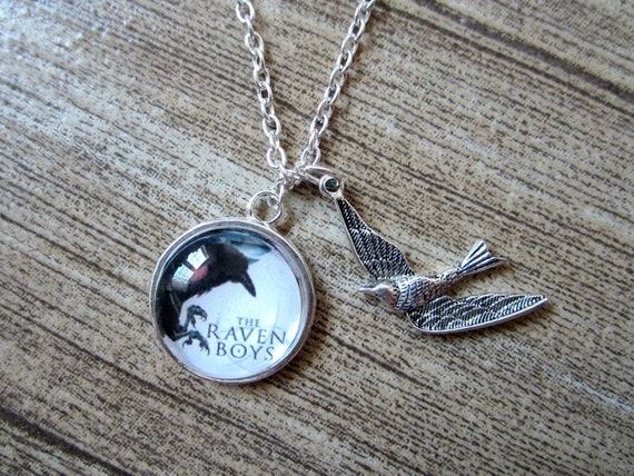 Inspired By The Raven Boys By Maggie Stiefvater- Silver Pendant Necklace With Bird- YA novel - teen books- literary jewellery-