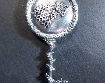 Necklace key silver fantasy game of thrones 'The oath of the Starks'