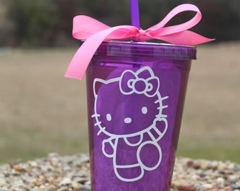 Purple Hello Kitty tumbler with name