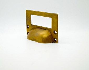 Vintage cabinet handle. Brass vintage . Filing cabinet handle . Label handles brass. Draw organiser. Office draw.
