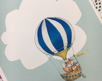 Fox Around the World-watercolor woodland and hot air balloon nursery print