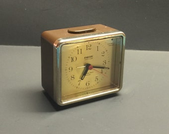 Free shipping Vintage Equity Quartz Alarm clock brown square battery operated