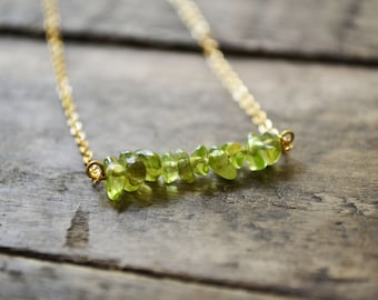 Crystal Bar necklace, Bar Necklace, Crystal necklace, Green necklace, Gold bar necklace, Layered necklace, Dainty gold necklace.