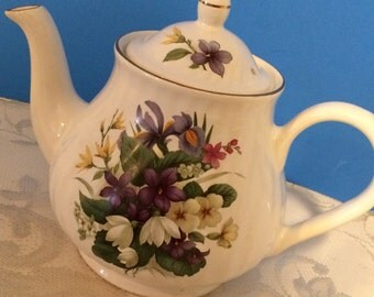 Arthur Wood and Son Staffordshire Teapot, Numbered 6410, Spring Floral, Est. 1884  Made in England