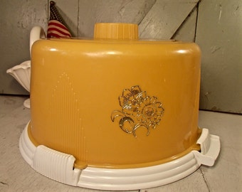 Cake Holder, Cake Cover, Vintage Cake Carrier, Look Lift Cake Cover, Yellow Cake Holder, Mustard Yellow Cake Cover, Art Deco Style