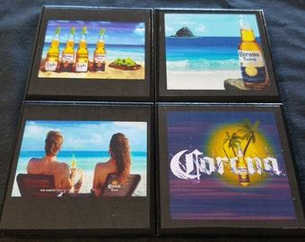 Corona Ceramic Tile Drink Coasters / Set of 4 / Corona Drink Coaster Set / Corona Coaster