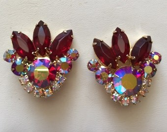 Vintage D & E  Delizza and Elster Julianna Red and Aurora Borealis Rhinestone Clip Earrings
