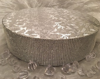 "Cake Stand 6"" To 18"" Round Silver Gold Bling Rhinestone Riser, Platform, Separator for Wedding, Anniversary, Birthday, Quinceanera Event"