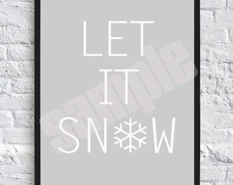 Let It Snow, Christmas Wall Art, Digital Download