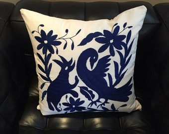Pillow cases, hand embroidered Otomi fabric. 42x42 cm/ 16 1/2 inch