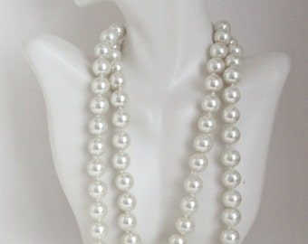 Long Pearl Necklace, Elegant Hand Knotted Pearl Necklace